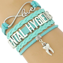 Dentist Dental Hygienist Hygiene Assistant Tooth Charm Multilayer Wrap Leather Bracelets