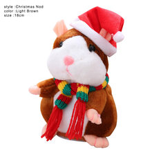 Talking Pet Scarf Hamster Toy Electronic Plush Noding Sound Recording Doll Kids Christmas Gifts High Quality(China)