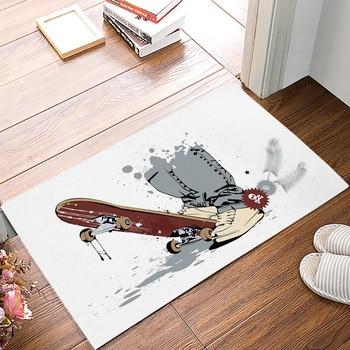 Tapete de cocina, zapatos de Skateboard, tapetes de puertas antideslizantes con diseño de Calavera, tapetes de puertas para exterior/interior, hogar, sala de estar, decoraciones de baño, felpudo