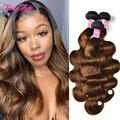Klaiyi Hair FB30 Highlight Body Wave Bundles Malaysian Ombre Brown Human Hair Weave Bundles Dark Roots Remy Hair Extensions