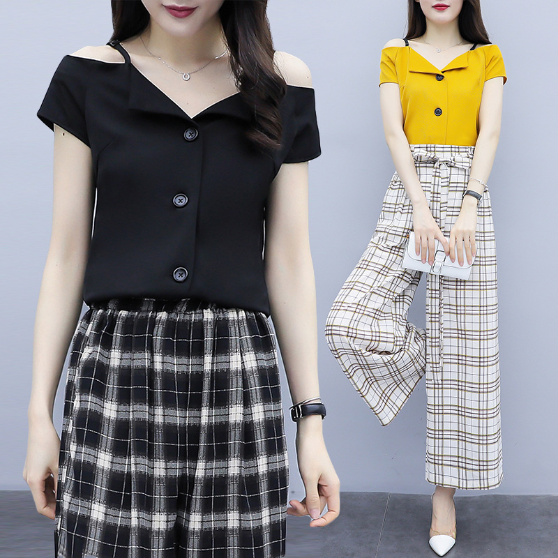 Fashion Set 2019 New Style Summer Wear Fashion Popular Tops + Skinny Pants WOMEN'S Two-piece Suit