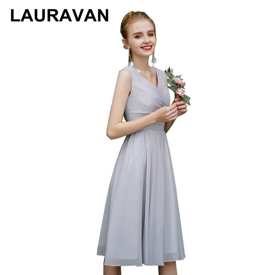 Women Short Robe Soiree Sleeveless Light Gray V Neck Dresses Simple Chiffon Tea Length Bridesmaid Party Dress Chiffon