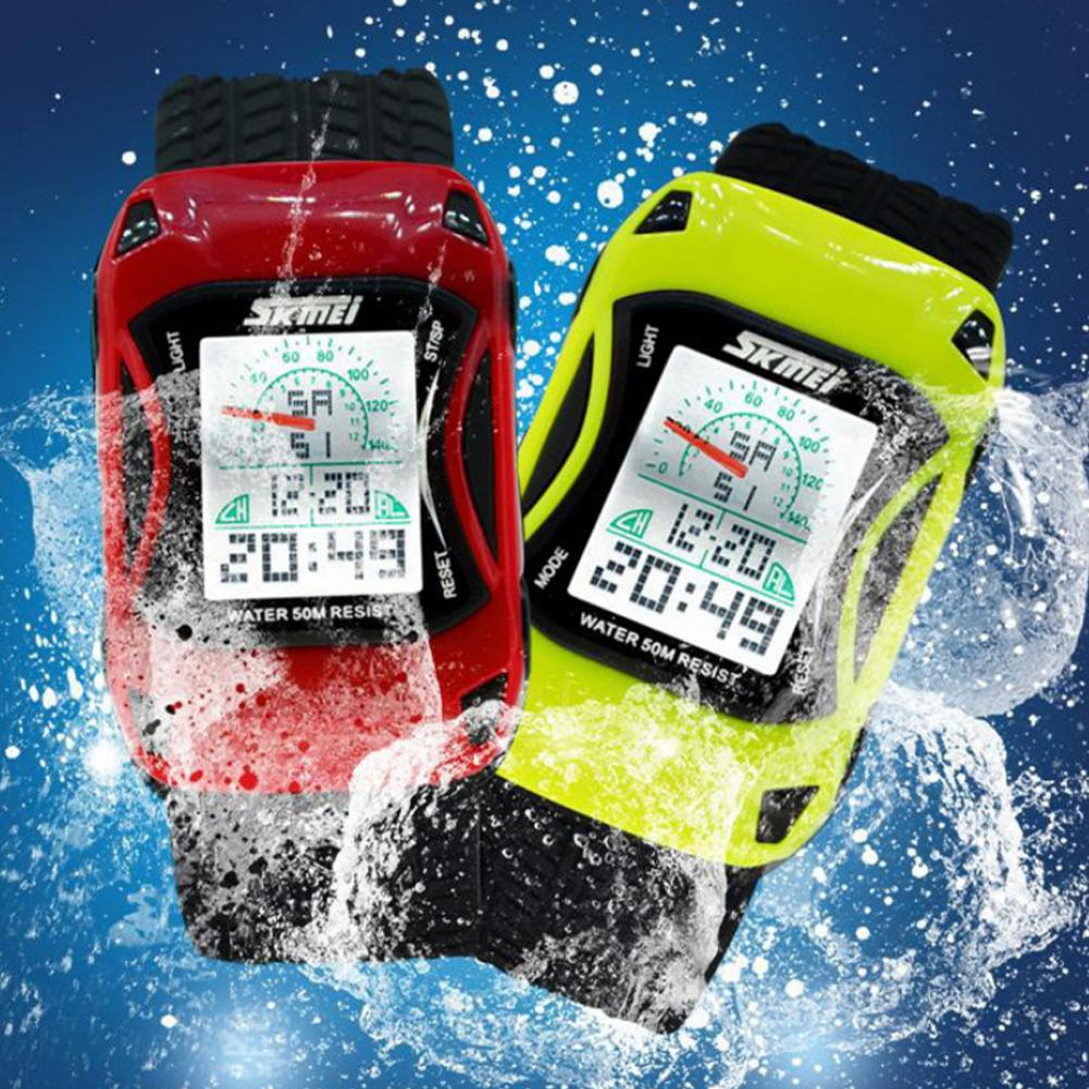 SKMEI 0961 Cartoon Car Dial LED Alarm Kids Boys Waterproof Sports Digital Wrist Watch