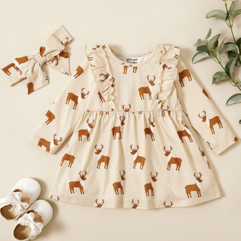PatPat 2020 New Spring and Autumn Baby Girl Elk Sweet Dress for Clothes