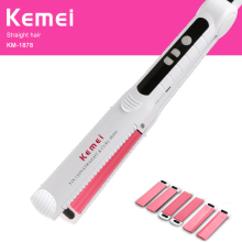 kemei hair straightener professional flat irons curling styling tools ionic 3 in 1 straightening irons hair curler fmk professional curling iron hair dryer hair straightener 3 in 1 styling tools set white flat irons wand curler european plug