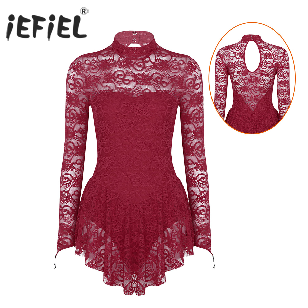 Women Adult Ballet Competition Lyrical Dancewear Costumes Lace Figure Ice Skating Roller Skating Dance Ballroom Leotard Dress