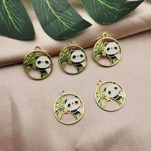 Breloques rondes en forme de Panda pour la fabrication de bijoux, 10 pièces en vrac, motifs animaux et plantes, en bambou, 22x25mm