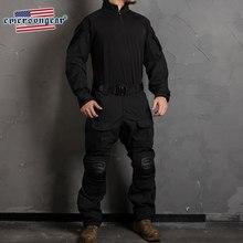 Emersongear g3 calças de combate militar tático dos homens treinamento dever carga calças com joelheiras cor preta