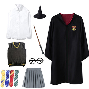 Potter Cosplay Costume Magic Cloak Hermione Potter Cosplay Clothes Wand Tie Sweater Suits Accessories Halloween Party Props Gift harriom coin bank 18 pcs coin with bag cosplay potter toy halloween magic world party jouet gift