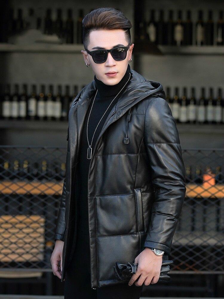 Winter Sheepskin Leather Jacket Men Korean Slim Long Coat Genuine Leather Down Jacket Hooded Men Clothing P-1-752 KJ1251