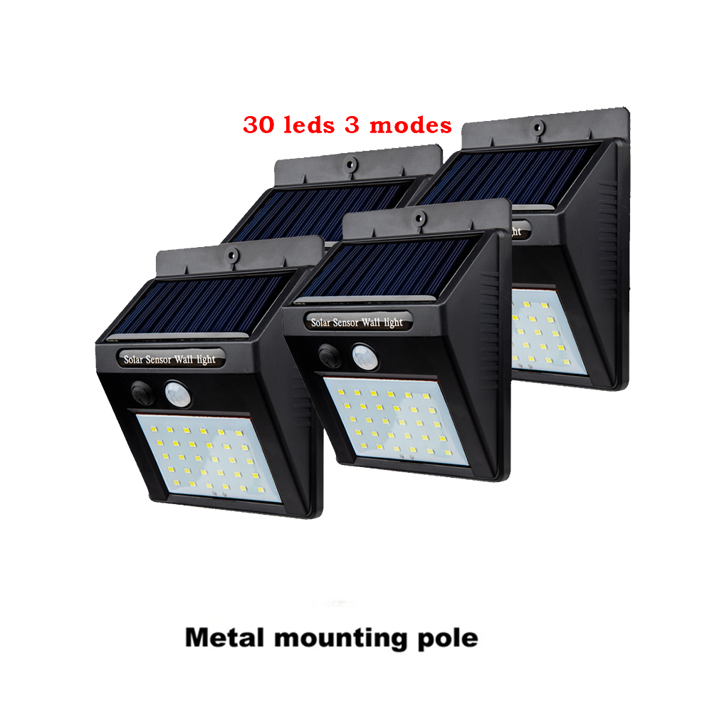 2/4PCS Solar Lights Outdoor Wireless 30 LED Adjustable Angle Motion Sensor Light Security Lighting Lamp For Garden Wall Yard