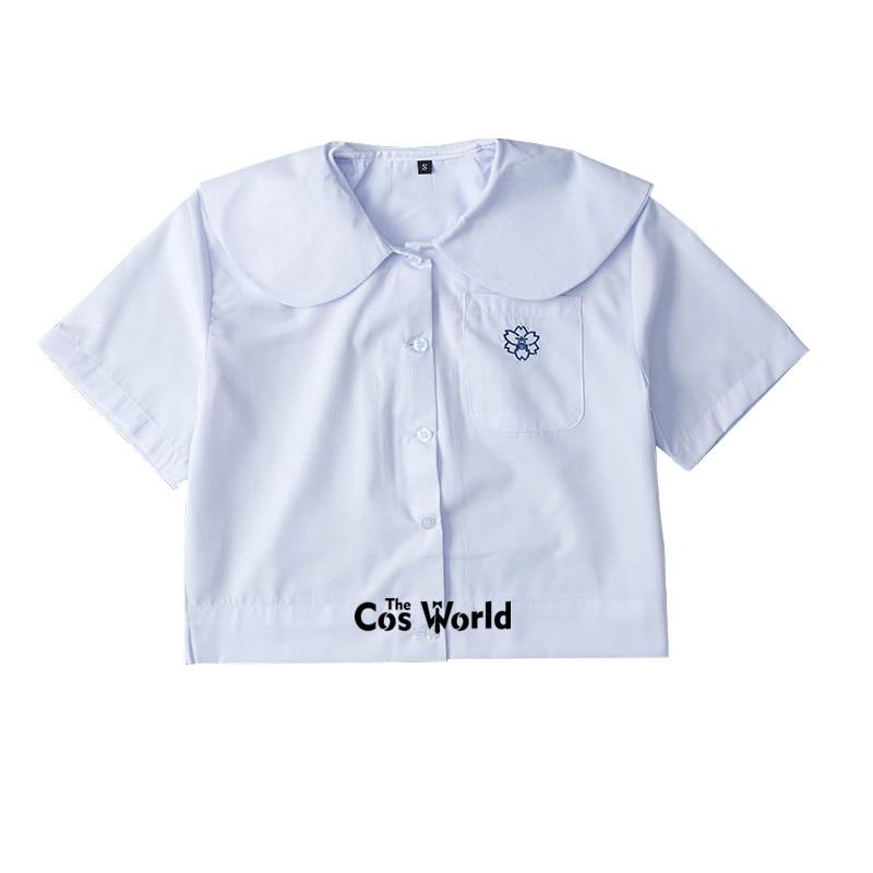 XS-XXL Women's Summer Embroider Round Neck Short Sleeve Slim White Shirt Tops Blouses For JK School Uniform Student Clothes