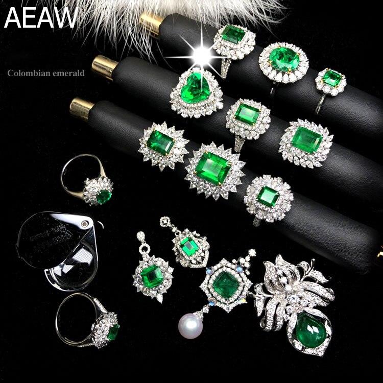 Custom Jewelry 18K White Gold 100% Natural Emerald Gemstone(contact us)