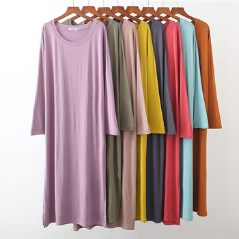 Nightdress Women O-Neck Modal Cotton Long Sleeve Nightgown Comfortable Loose Sleepwear Spring Summer Night Shirt Female Dresses casual women o neck pocket summer asymmetric baggy plus size retro long harajuku dresses loose female