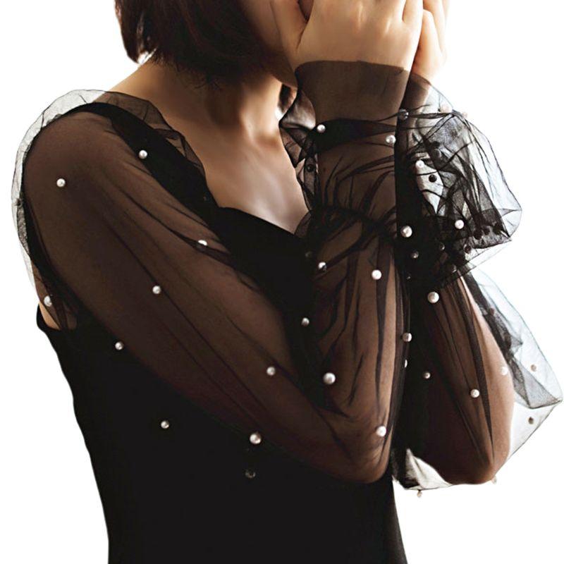 1Pair New Women Elegant Lace Detachable Elastic False Long Puff Sleeves Imitation Pearl Beaded Decorative Loose Arm Cover