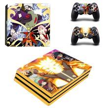 อะนิเมะNaruto PS4 Proสติกเกอร์ผิวสำหรับPlayStation 4 คอนโซลProและคอนโทรลเลอร์GamepadไวนิลDecalsสติกเกอร์