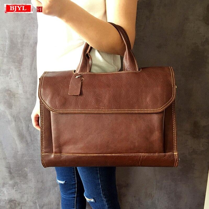BJYL Genuine Leather Women Handbags Ladies Business 14 Inch Laptop Briefcase Female Shoulder Messenger Bags Crazy Horse Leather