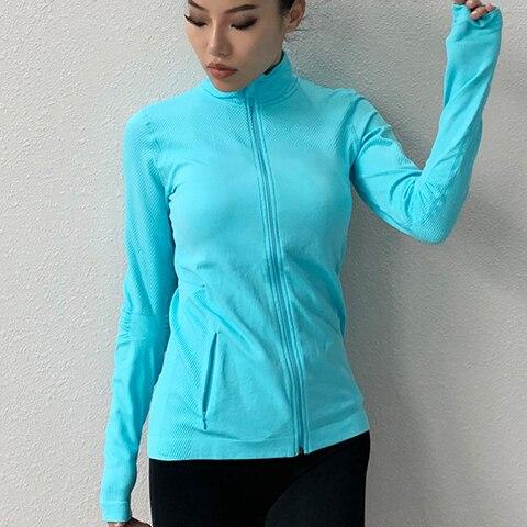 Camisa de Manga Zhangyunuo Ginásio Zíper Colheita Topos Mulheres Yoga Longa Sexy Gola Alta Esportes Camiseta Correndo Superior Aptidão Treino Camisas