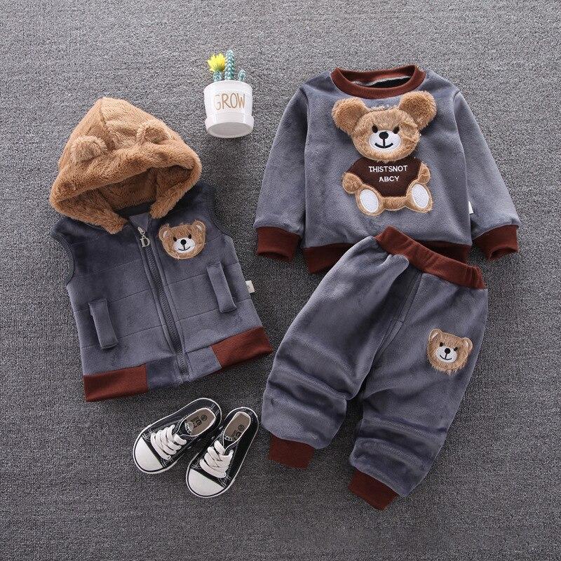 Детская одежда, осень и зима, утепленный теплый мультяшный костюм мишки, бархатный свитер с капюшоном для мальчиков и девочек, костюм из трех предметов|Комплекты одежды| | АлиЭкспресс