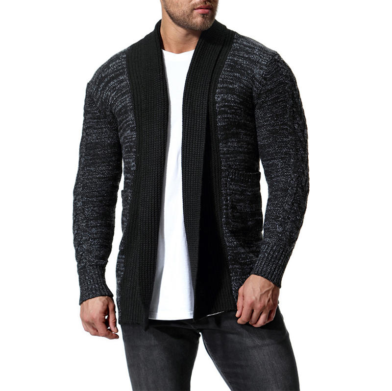 Contrast Color Mens Sweaters Thick Winter Long Sleeve Mens Tops Two Colors Cardigan Casual Mens Clothing