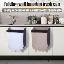 Wiszący składany kosz na śmieci przymocowany do drzwi do szafki szuflada kuchenna sypialnia pokój sypialny samochód mały kosz na śmieci
