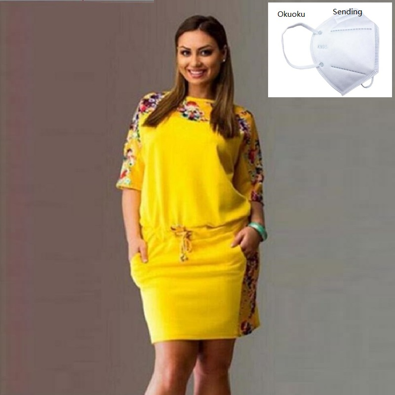 Plus size dresses for women 4xl 5xl 6xl new fashion dresses summer 2020 round neck sleeve print large size fat MM women's dress(China)