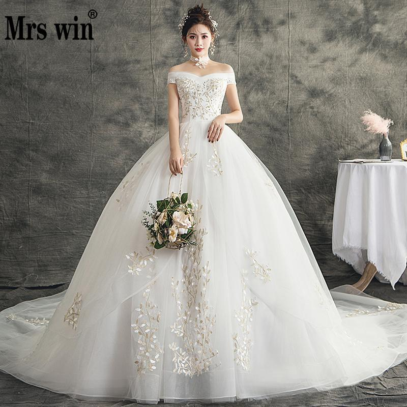 Mrs Win Wedding Dress The Luxury Boat Neck Ball Gown Off The Shoulder Princess Lace Appliques Wedding Dreses 2020