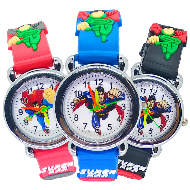 Luxury Baby Educational Time Toy Cartoon Superman Children's Watches Boys Girls Kids Quartz Wrist Watch Clock Gifts Bracelet Box