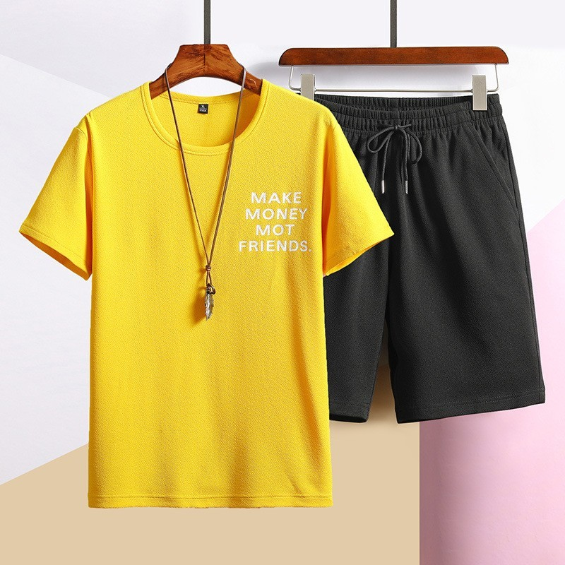 Summer Men Two Piece Set Short Sleeve T-shirt Elastic Waist Shorts Set Casual Outside Jogging Tracksuit Student Boy Deporte Suit