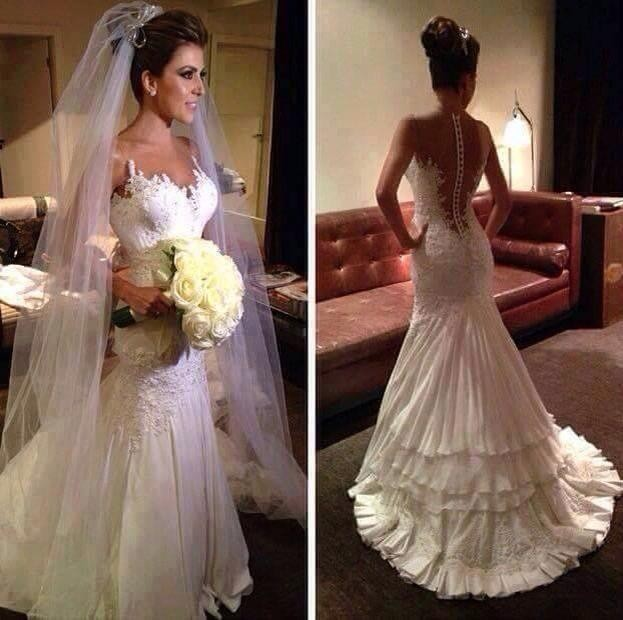 2015 Illussion Jewel V Neck Appliqued Beaded Sheer Back Tiered Mermaid Wedding Dresses Bridal Gowns