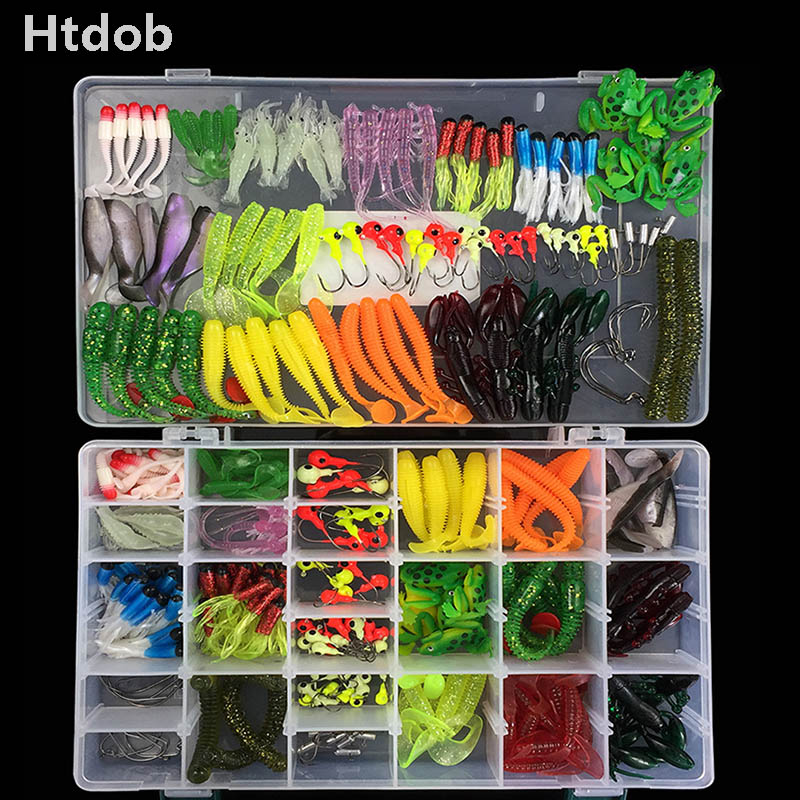 Fishing Lures Set 146/301pcs Hooks Soft Lure softbait Kits with Box Fishing Gear Accessories ice fishing lure silicone bait|Fishing Lures| |  - title=