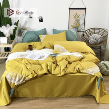 Liv-Esthete Luxury 100% Silk Lace Gray Bedding Set Silky Healthy Duvet Cover Bed Sheet Double Queen Linen For Beauty Girl