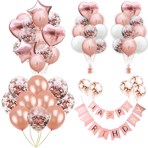 Rose Gold Balloons Set Confetti Latex Ballons Wedding Baloons Supplies Happy Birthday Party Decorations Kids Baby Shower Favors