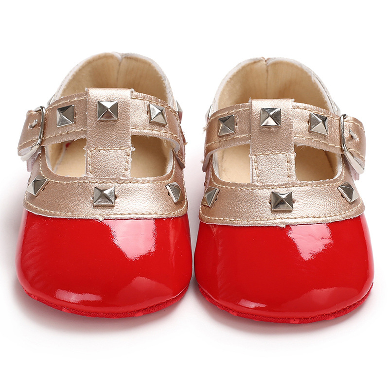 2019 Cheaper Baby Girls Studs Shoes Babies First Walker Shoes Baby Girls Pre-walker Patent Leather Pink Rivet Shoes Cloth Bottom