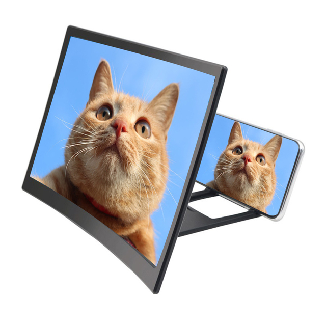 """12"""" 3D Mobile Phone Screen Magnifier Bracket Enlarge Stand Eyes Protection Curved Folding Video Screen Display Amplifier 2"""