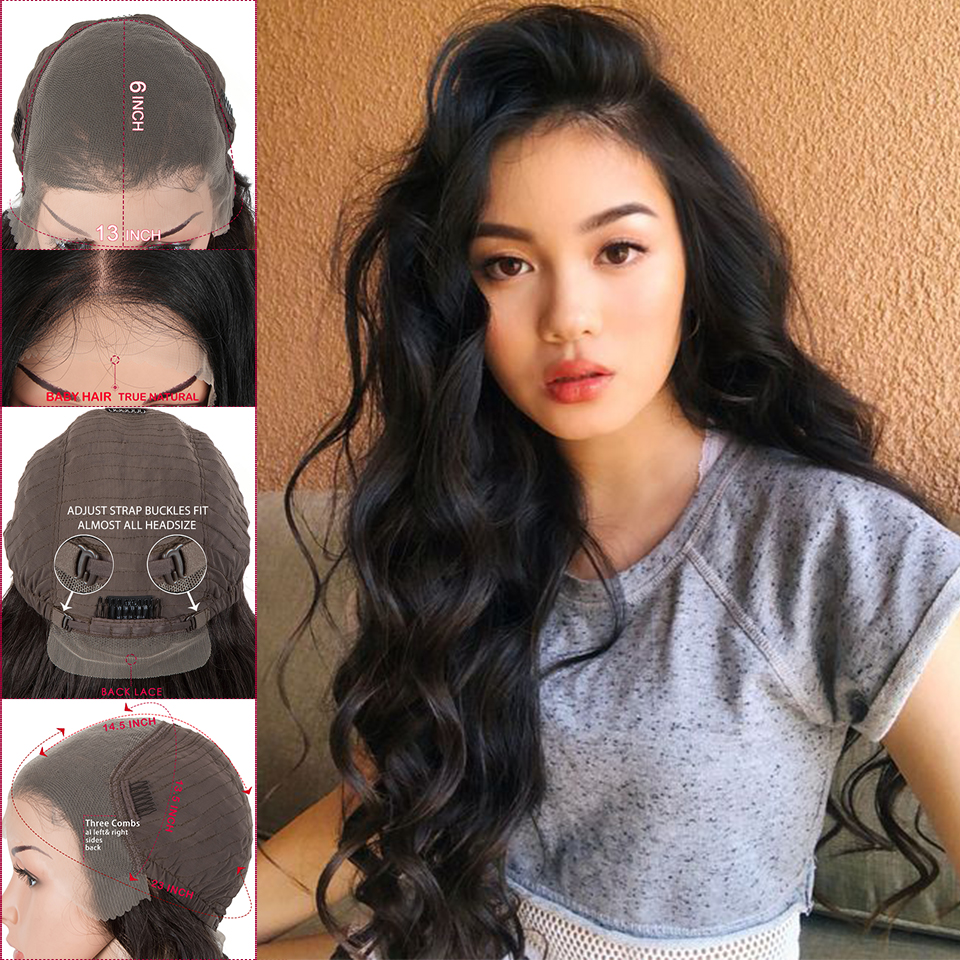 Magic Hair 91CM Long 360 Dark Root Blonde Black Long Wavy Lace Front Wigs For Black Women Heat Resistant Loose Wave Hair