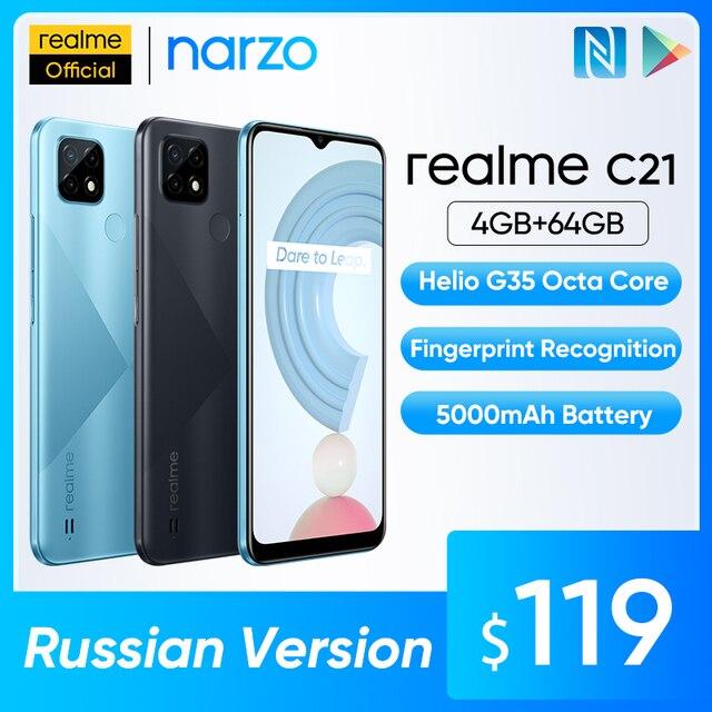 "Russian Version realme C21 Smartphone Helio G35 Octa Core 64GB 6.5""display 5000mAh battery 3-Card Slot 1"
