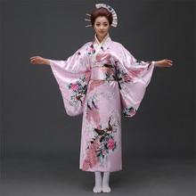 Venda quente japonês feminino original yukata vestido tradicional quimono com obi desempenho trajes de dança um tamanho