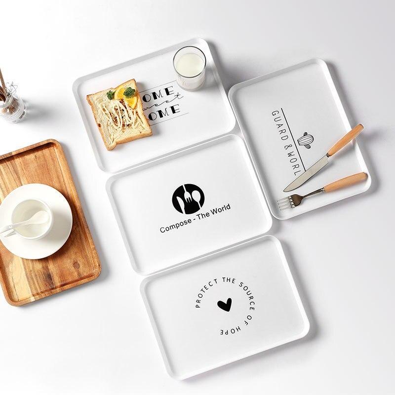 Пластиковый поднос для еды, поднос для чая, завтрака, хлеба, тарелки для хранения, квадратные тарелки для косметики, тарелки, блюдо, 1 шт.-1