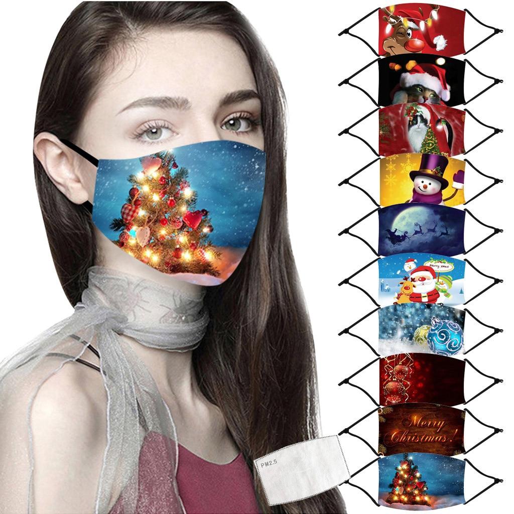 Masque facial réutilisable avec filtre noël imprimé bouche-moufle réglable anti-poussière lavable respirant cyclisme Mascari1pc filtre