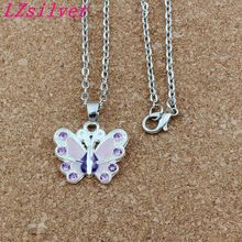 Purple Rhinestone Enamel Butterfly Alloy Charms Pendants Necklaces Jewelry DIY 23.6 inches Chains 10pcs/lots A-508d