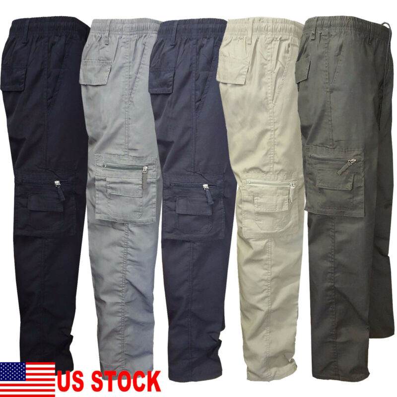 Mens Tactical Hiking Belted Cargo Pants Skinny Slim Fit 7 Pockets Pants Trousers
