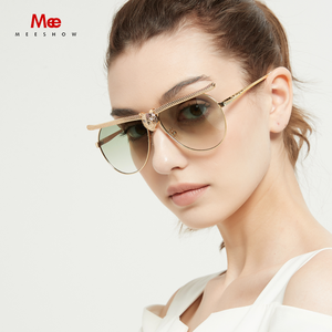Image 1 - MEESHOW Women Fashion Sunglasses 2020  Luxury High Quality Cat Eyewear Rhinestone Oversize Frame Sun Glasses