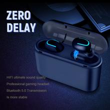 Słuchawki Bluetooth TWS bezprzewodowy zestaw słuchawkowy Blutooth 5 0 zestaw głośnomówiący słuchawki słuchawki sportowe gamingowy zestaw słuchawkowy telefon PK HBQ tanie tanio KUGE Inne CN (pochodzenie) Bezprzewodowy + Przewodowe Do Internetu Bar Monitor Słuchawkowe Do Gier Wideo Wspólna Słuchawkowe