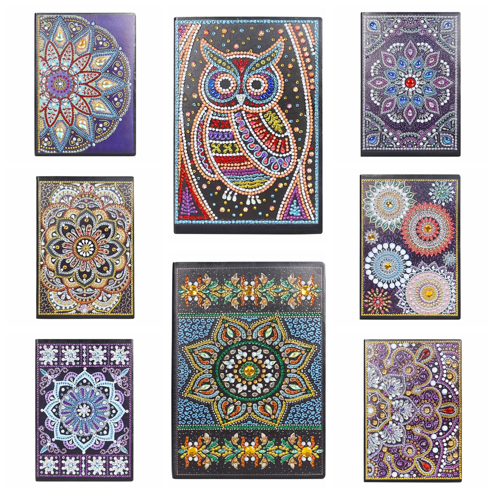 5D DIY Diamond Painting 60Pages A5 Notebook Diary Book Sketchbook Special Shaped Mandala Diamond Painting Rhinestone Book