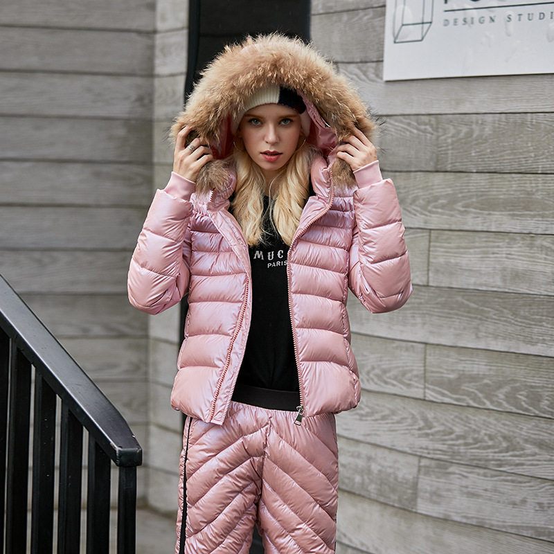 Hot Sale  Women Two Piece Ski Suit Winter Thick Fur Collar Hooded Jacket Outdoor Slim Trousers Warm Down Cotton Jacket+Pants