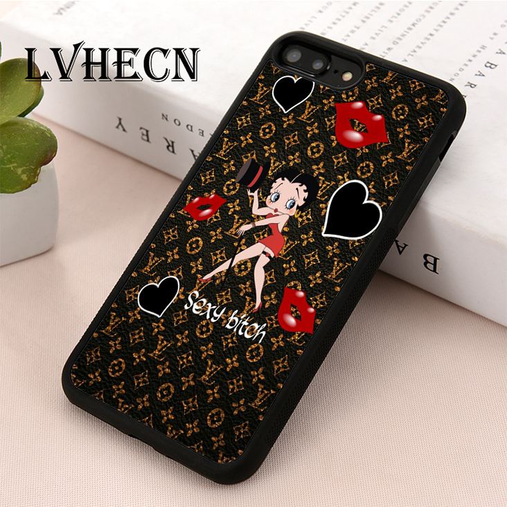 Inspired by Betty boop phone case Betty iPhone case 7 plus X XR XS Max 8 6 6s 5 5s se Betty Samsung galaxy case s9 s9 Plus note 8 s8 s7 edge s6 s5 s4 note gift art cover gifts kiss