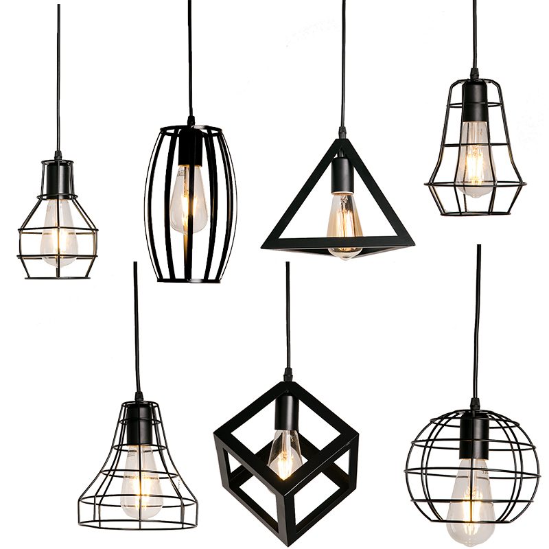 Nordic Pendant Lights Iron Minimalist Loft Cage Pyramid Pendant Lamp Modern Industrial Metal Hanging Lamp Parlor E27 Indoor Loft