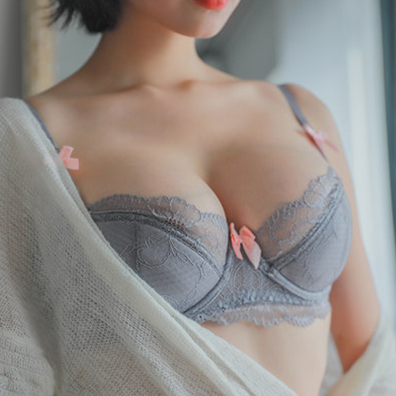 Shaonvmeiwu Sexy Lace Thin Cotton Lingerie Bra Set With Cotton Cushion Inserts Gathers A Large Bra