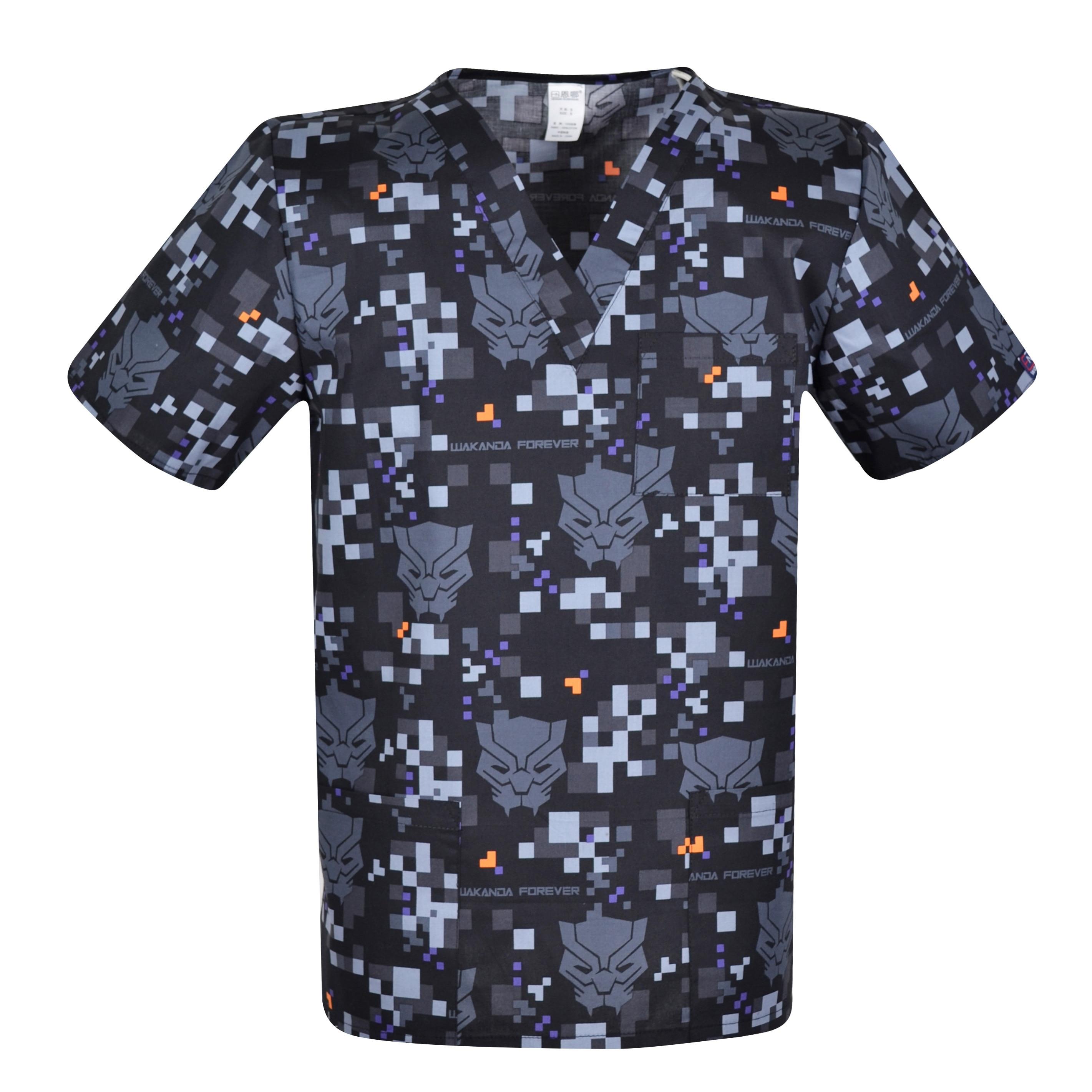 Print Men Medical Uniforms,print Men Scrub Top,men Medical Tops   Medical Uniform For Male In 100% Cotton